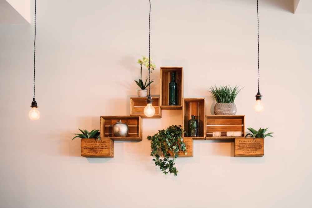 crates mounted on wall
